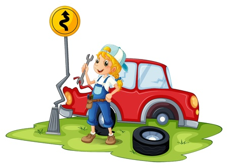 replacing: Illustration of a female mechanic fixing the red broken car on a white background