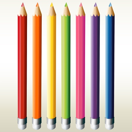 sharpen: Illustration of the seven colorful pencils on a white background  Illustration