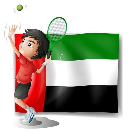 arab flags: Illustration of a tired athlete player in front of the UAE flag on a white background