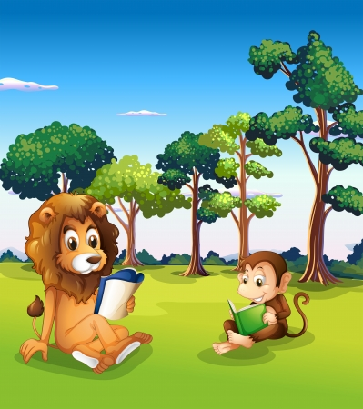 storyteller: Illustration of a monkey and a lion reading books Illustration