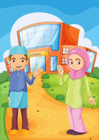 Illustration of a male and a female Muslim in front of a school building Vector