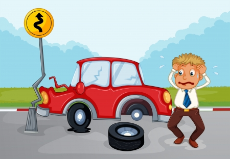 auto accident: Illustration of a worried man beside his damaged car Illustration