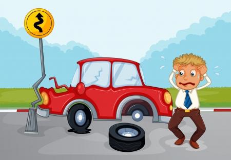 Illustration of a worried man beside his damaged car Illustration