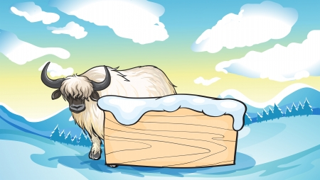 Illustration of a yak at the back of an empty signboard Illustration