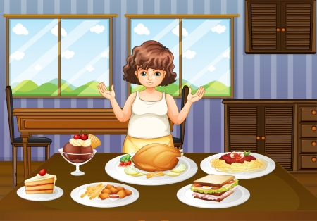 Illustration of a fat lady in front of a table with many foods Stock Vector - 20518270