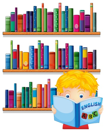 Illustration of a boy reading with a wooden shelves at the back on a white background  Illustration