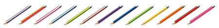 thirteen: Illustration of the thirteen colorful pencils on a white background