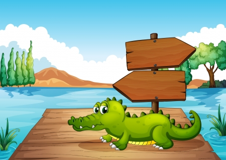 Illustration of a crocodile near the pond Stock Vector - 20517940