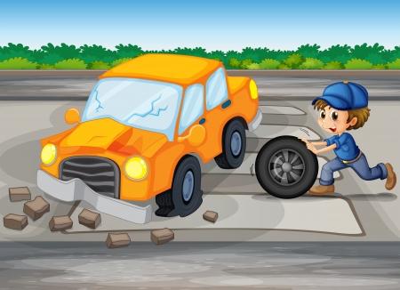 Illustration of a boy repairing a car at the pedestrian lane Stock Vector - 20518184