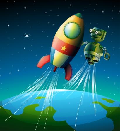 raumschiff: Illustration eines Roboters neben einem Raumschiff