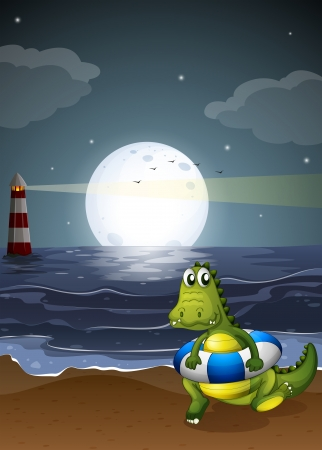 Illustration of a crocodile at the beach Vector