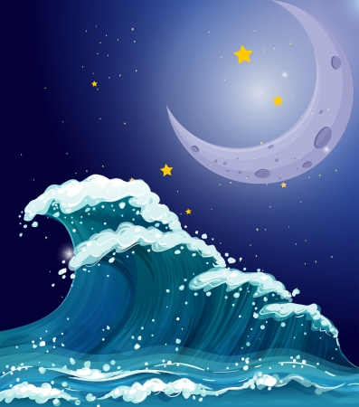 Illustration of a big wave under the sparkling stars and a bright moon Vector