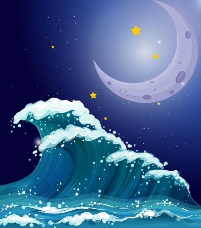 wavelength: Ilustraci�n de una gran ola en las estrellas brillantes y una luna brillante