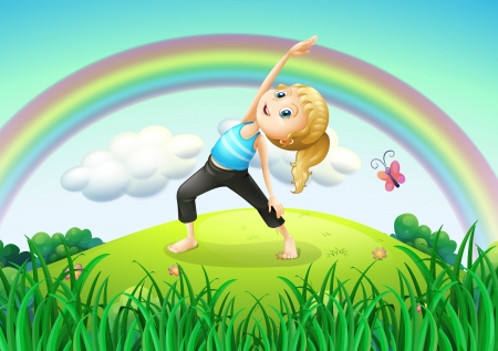 Illustration of a girl stretching at the top of the hill with a rainbow Vector