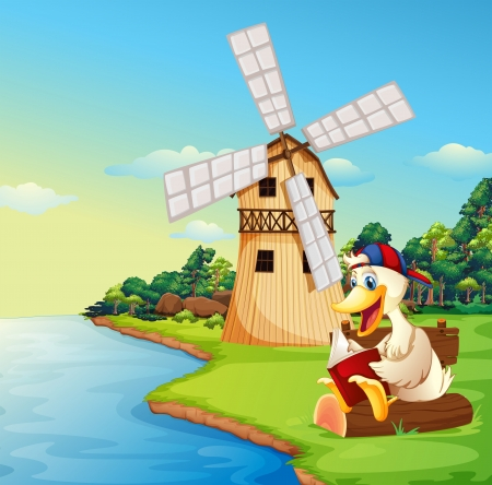 nonfiction: Illustration of a duck reading a book near the windmill Illustration