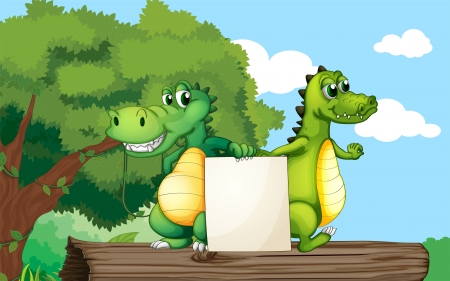 Illustration of the crocodiles at the top of a trunk holding an empty board Vector