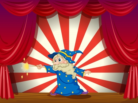 stageplay: Illustration of a wizard with a wand in the middle of the stage