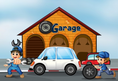 car fix: Illustration of a luxury car in front of an autoshop