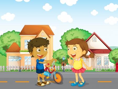 Illustration of the children talking outside Illustration