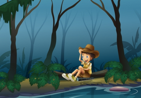 riverbank: Illustration of a male explorer relaxing near the riverbank