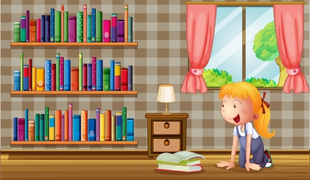 Illustration of a girl inside the house with many books Vector
