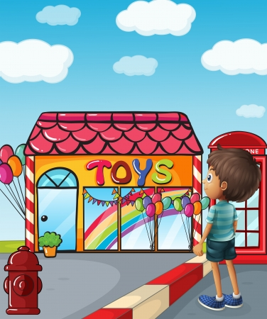 payphone: Illustration of a boy standing near the toy store