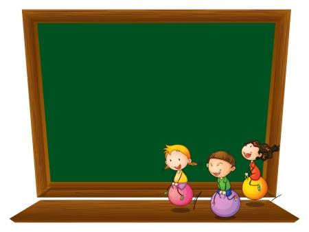 白い背景の上の 3 つの遊び心のある子供を持つ空の黒板のイラスト