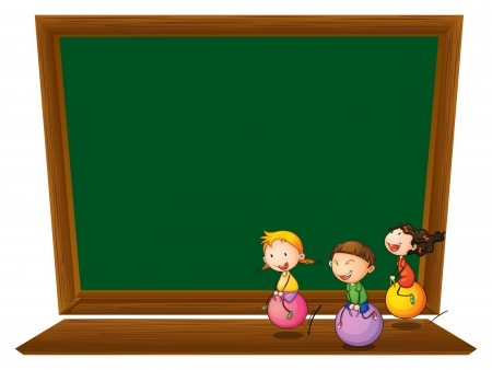 Illustration of an empty blackboard with three playful kids on a white background Illustration