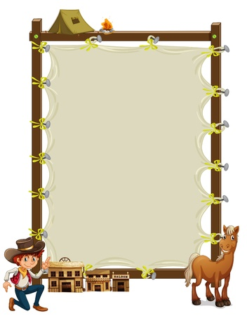 cowboy background: Illustration of an empty framed banner with a cowboy and a horse on a white background Illustration