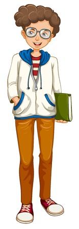 Illustration d'un garçon tenant un livre sur un fond blanc Vecteurs