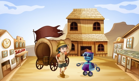 Illustration of a robot and a girl near the wagon Vector