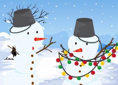 Illustration of the two snowmen Stock Vector - 20517631