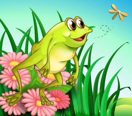 Illustration of a hungry frog at the garden Vector