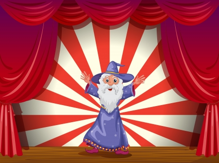 stageplay: Illustration of a wizard in the middle of the stage with a red curtain