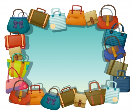 Illustration of an empty surface surrounded with different bags on a white background Stock Vector - 20517974