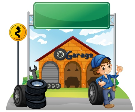 Illustration of a boy standing beside a wheel outside the garage on a white background  Vector