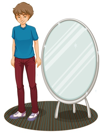 Illustration of a handsome boy beside a mirror on a white background Vector