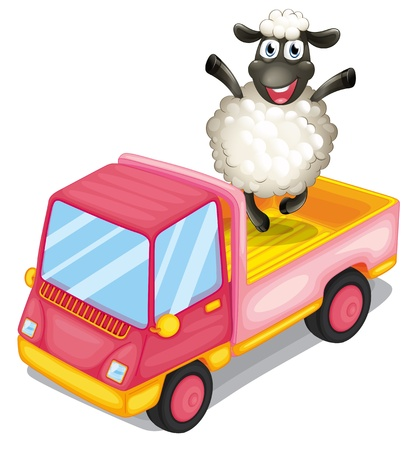 Illustration of a sheep standing at the back of a truck on a white background Stock Vector - 20517780