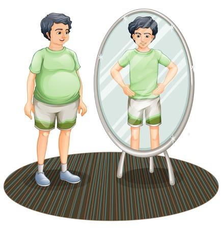 spiegelbeeld: Illustratie van een dikke man buiten de spiegel en een magere man in de spiegel op een witte achtergrond