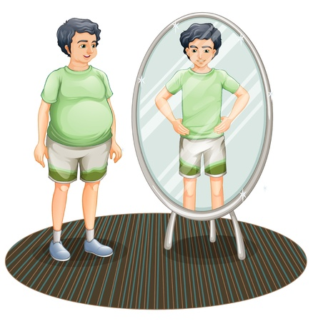 reflection in mirror: Illustration of a fat man outside the mirror and a skinny man inside the mirror on a white background  Illustration