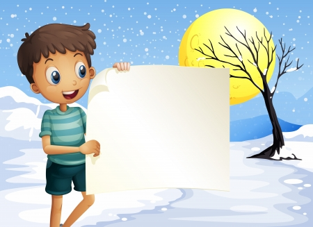Illustration of a boy smiling holding an empty signage Stock Vector - 20517821