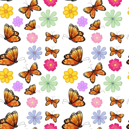 Illustration of the orange butterflies with colorful flowers on a white background Vector