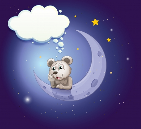 Illustration of a gray bear leaning over the moon with an empty callout