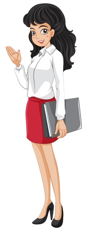 Illustration of an office girl holding a binder on a white background