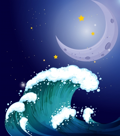 Illustration of a strong wave under the moon