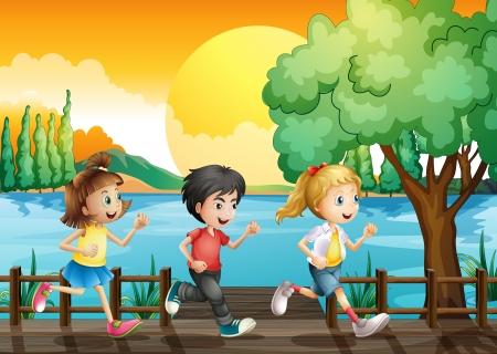 Ilustración de los tres niños corriendo en el puerto Ilustración de vector
