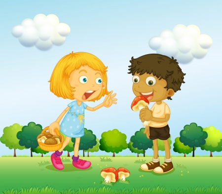 Illustration of a girl and a boy picking up mushrooms Illustration