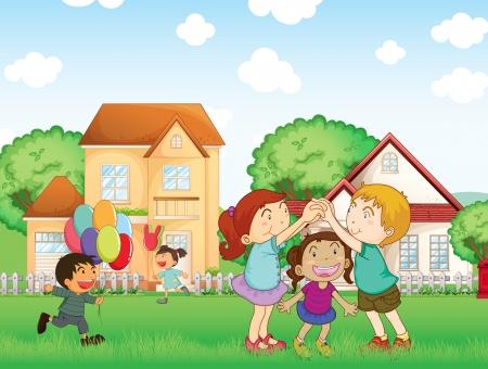 外で遊ぶ子供たちのイラスト  イラスト・ベクター素材