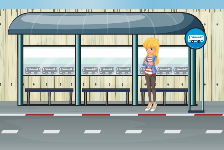 Illustration of a girl standing at the waiting shed Vector