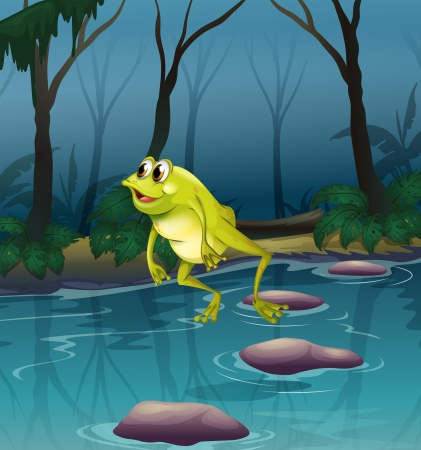 Illustration of a frog jumping at the pond inside the forest Vector